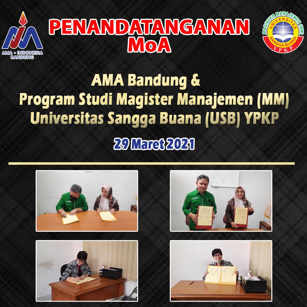 Penandatanganan MoA AMA Bandung - Magister Manajemen USB YPKP