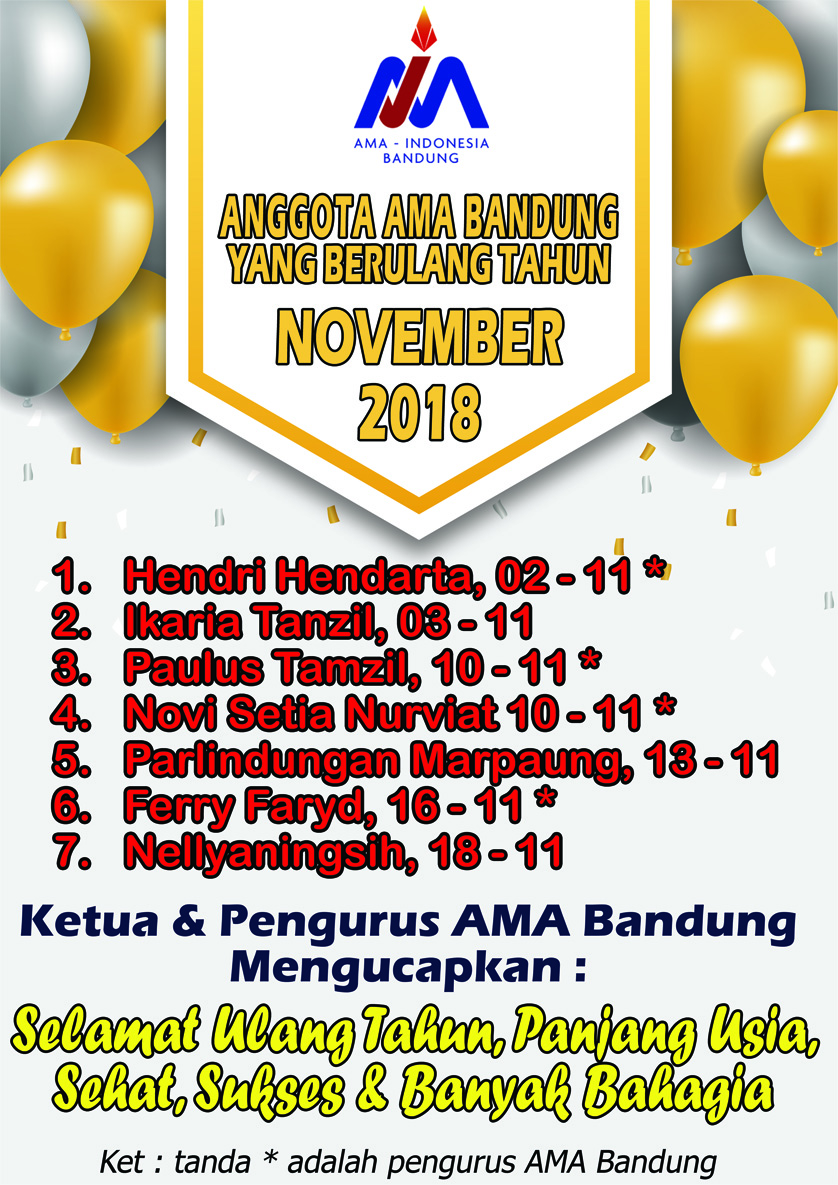 Anggota AMA Bandung yang Berulang Tahun Bulan November