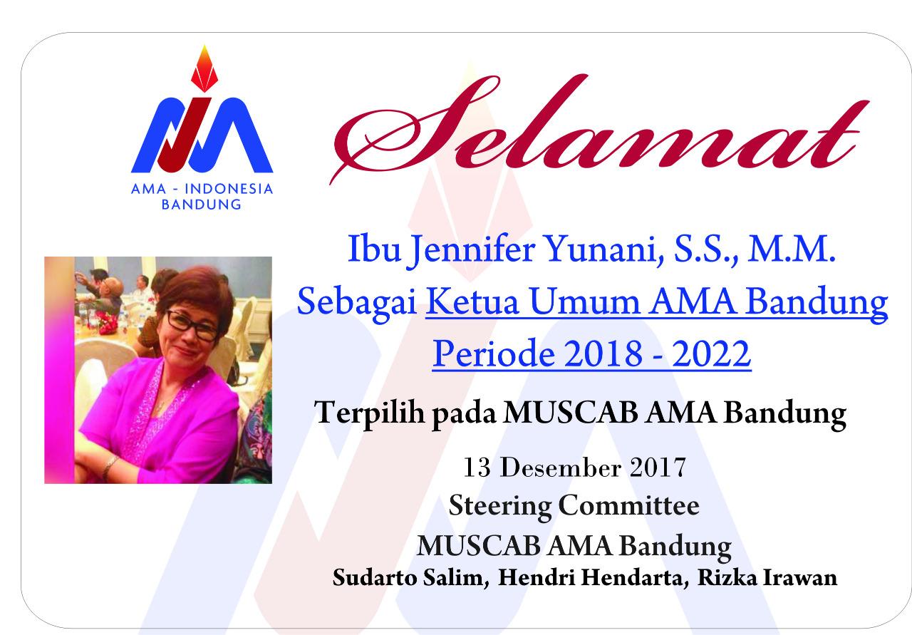 Selamat Untuk Ibu Jennifer Terpilih sebagai Ketua AMA Cabang Bandung